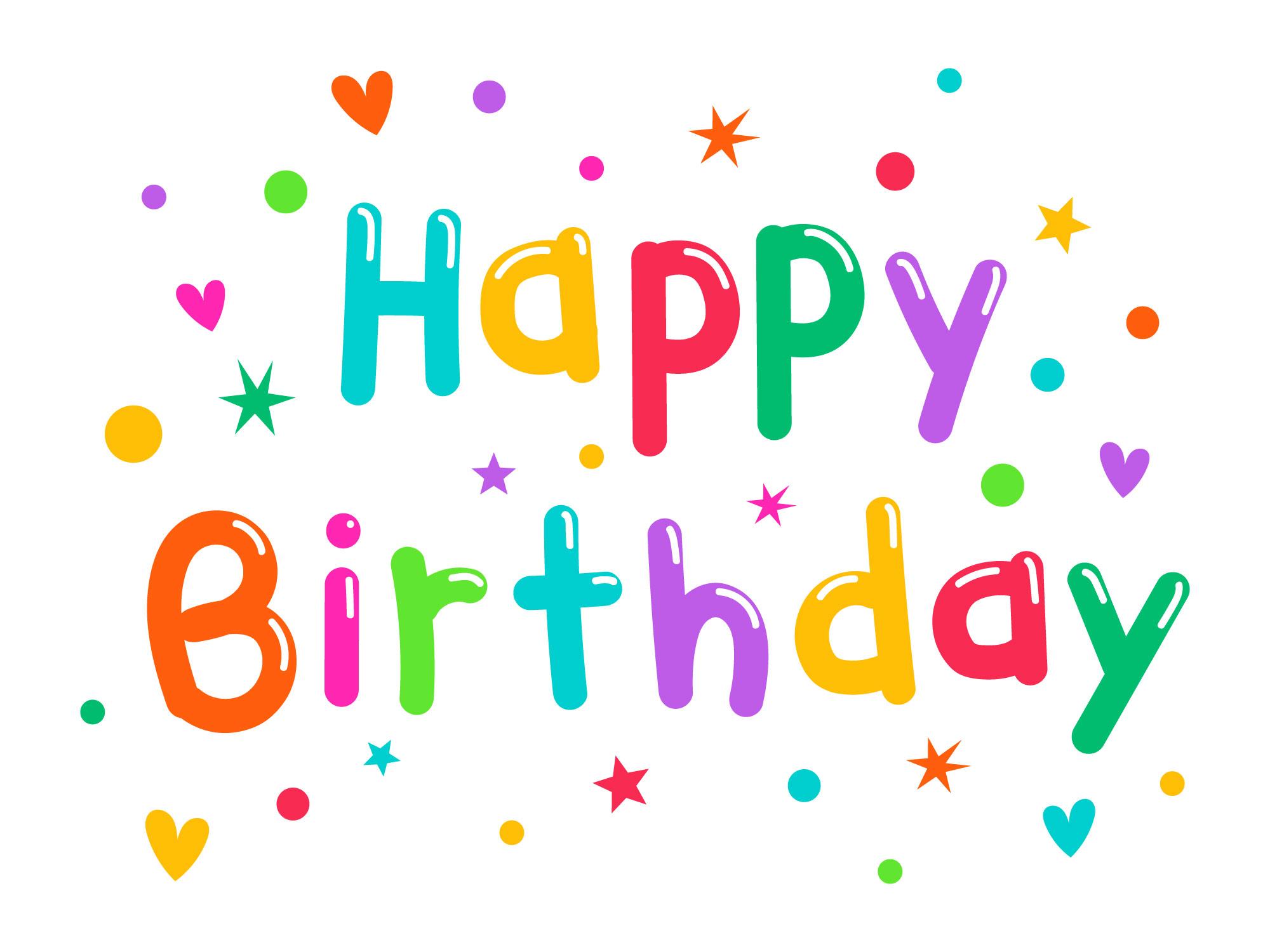 colorful happy birthday typogrphy  download free vectors