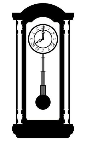 Uhr alte Retro Vintage Symbol Lager Vektor-Illustration schwarzer Umriss Silhouette vektor