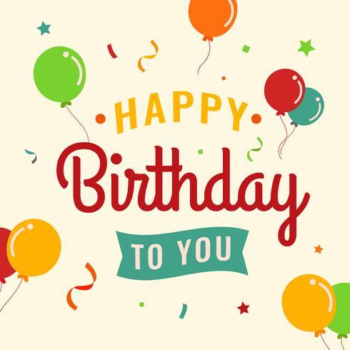 Cartel de tipografía de feliz cumpleaños vector