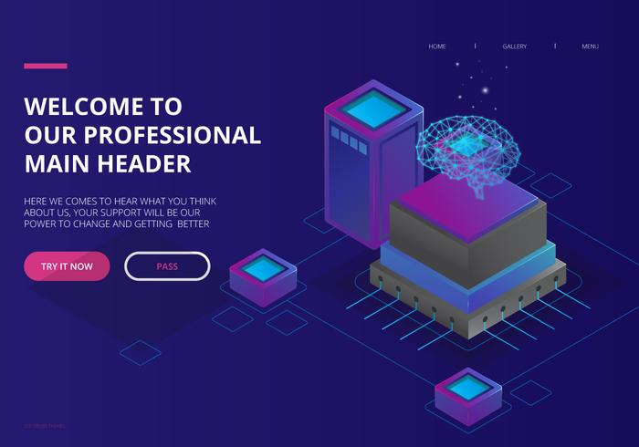 Artificial Intelligence UI Landing Page Theme vector