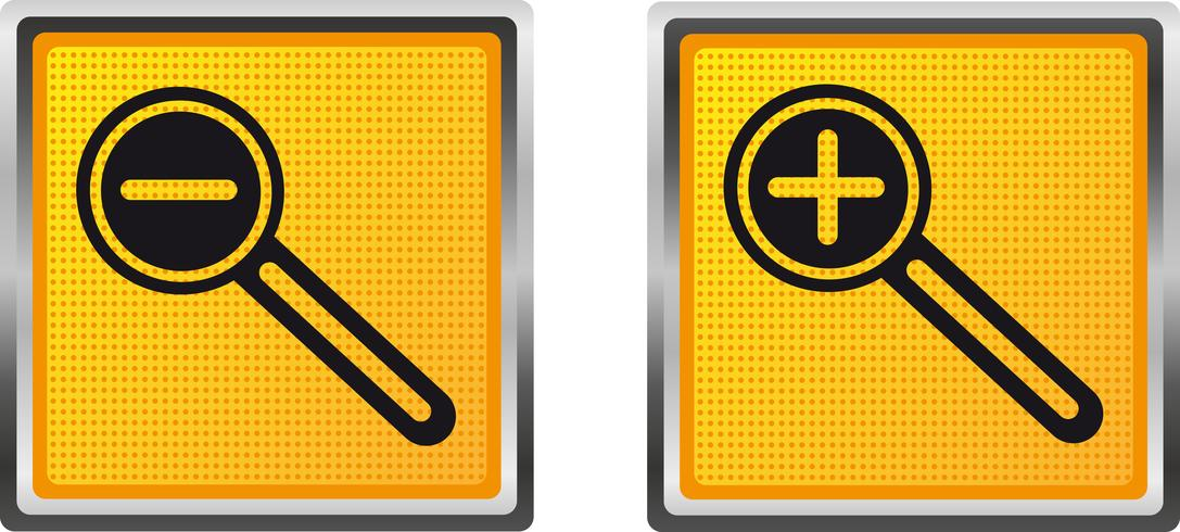 pictogrammen vergrootglas verhogen en verlagen voor ontwerp vectorillustratie vector