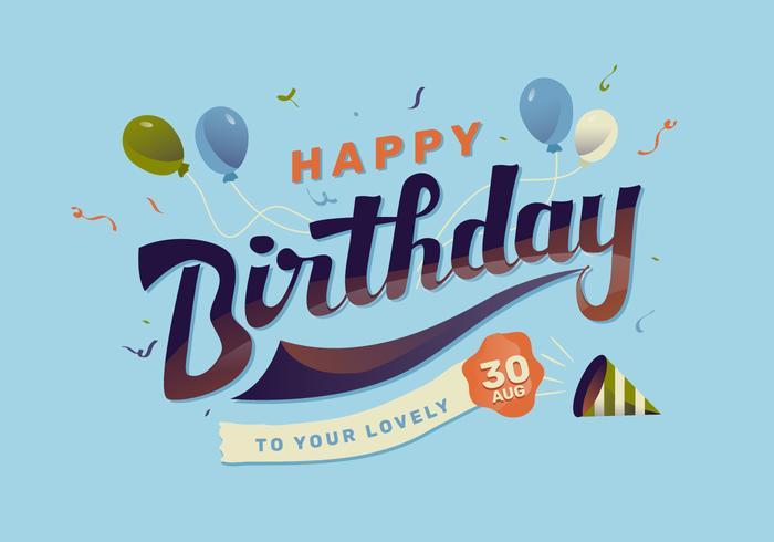 Gelukkige verjaardag belettering vectorillustratie
