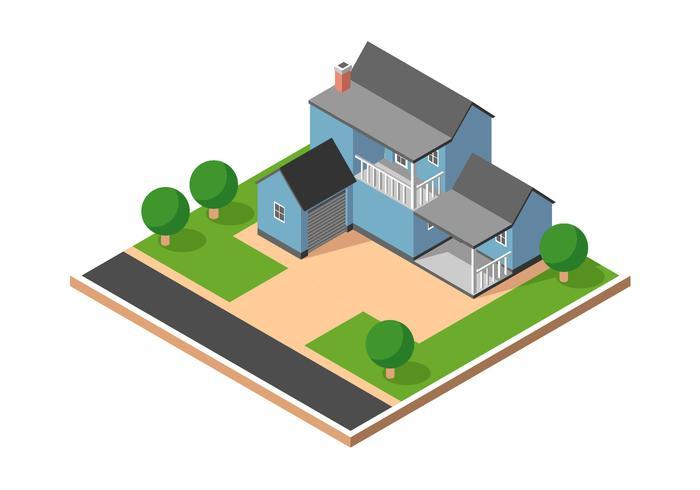 isometrisk förort hus vektor