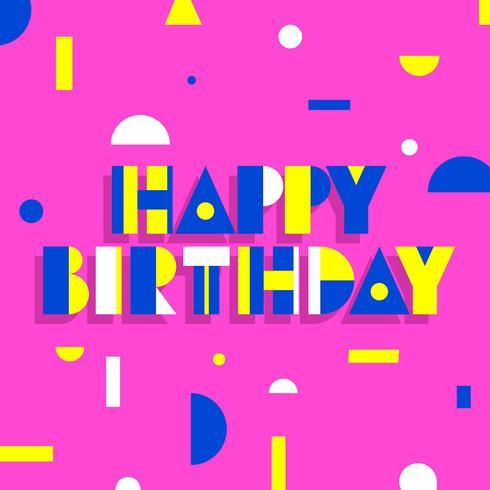 Feliz cumpleaños tipografía simple geométrica