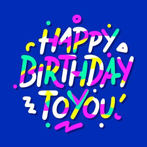 Grattis på födelsedagen Handskrivningstypografi