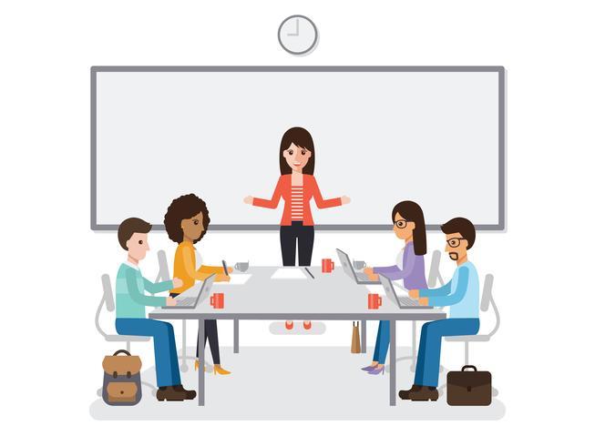 Empresários e empresárias reunião. vetor