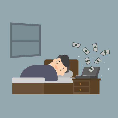 Affärsman med pengar som kommer in medan du sover. vektor