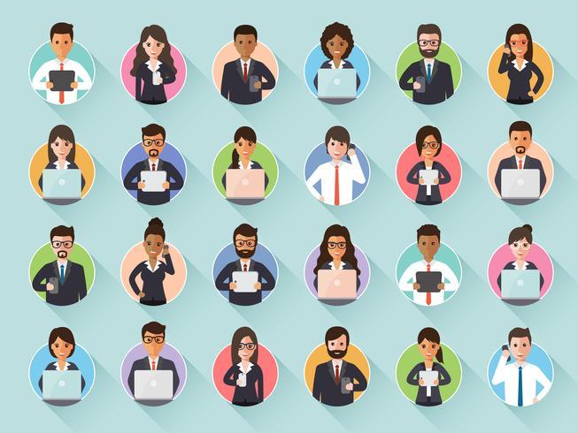Conectando o empresário e mulher de negócios através da rede social. vetor
