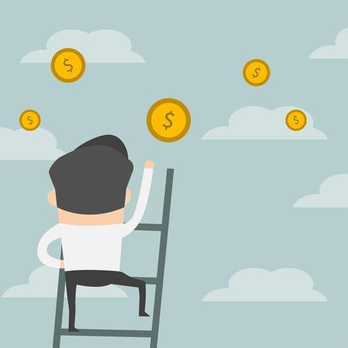 L'uomo d'affari fa un passo sulla scala che raggiunge al dollaro.