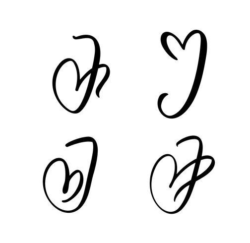Vektor-Satz des Weinleseblumenbuchstabe-Monogramms J Kalligraphieelement Valentinsgrußflourish. Übergeben Sie gezogenes Herzzeichen für Seitendekoration und entwerfen Sie Illustration. Liebeshochzeitskarte für Einladung