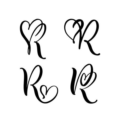 Insieme di vettore del monogramma di lettera floreale dell'annata R. elemento calligrafia San Valentino fiorire. Segno di cuore disegnato a mano per la decorazione della pagina e illustrazione di progettazione. Amo la carta di nozze per invito