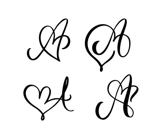 Vector Set of Vintage floral letter monogram A. Calligraphy element Valentine flourish. Hand drawn heart sign for page decoration and design illustration. Love wedding card for invitation