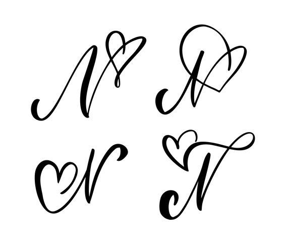 Vektor uppsättning av vintage blommigt brev monogram N. kalligrafi element valentin blomstra. Handritad hjärta skylt för sida dekoration och design illustration. Kärlek bröllopskort för inbjudan