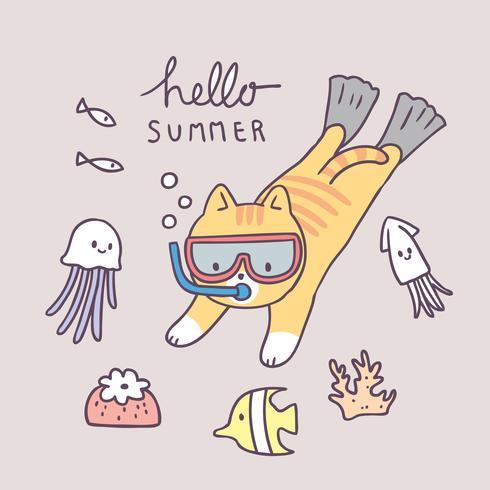 Cartoon cute summer cat diving vector. vector