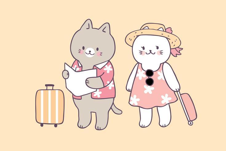 Cartoon cute summer cats travel vector.