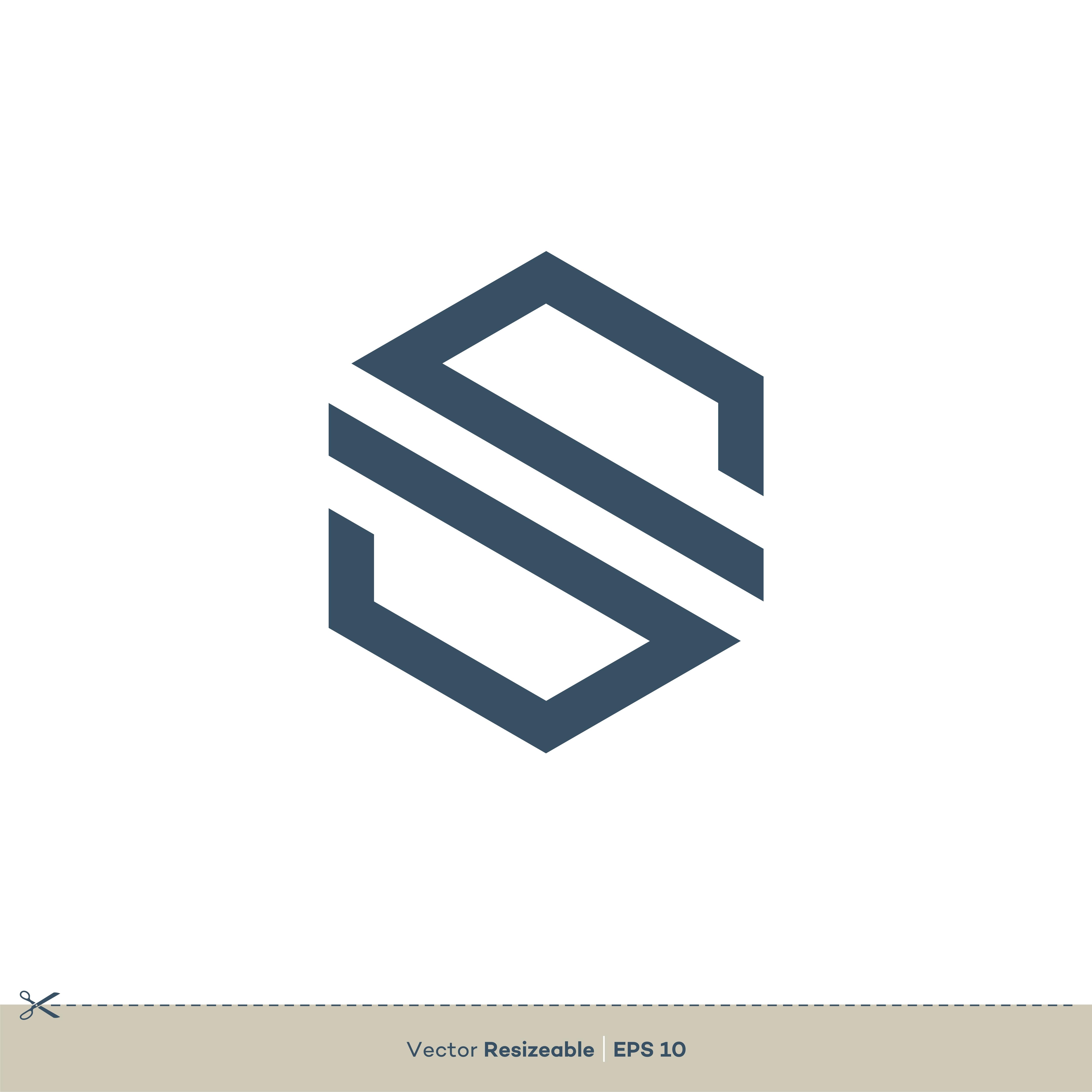 S Letter Hexagonal Shape Logo Template