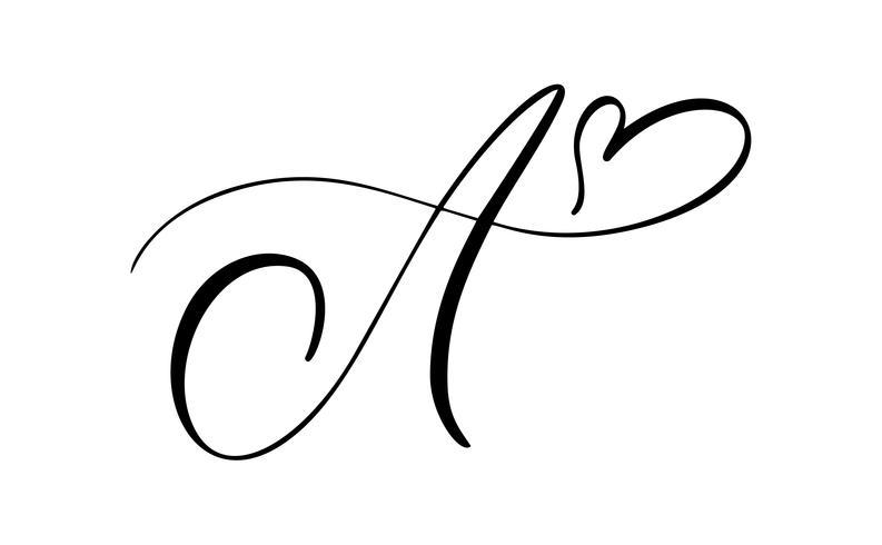 Monogramme de lettre floral Vintage Vector A. Élément de calligraphie s'épanouir. Signe dessiné à la main pour la décoration de la page et design illustration swirl ornament. Décoratif pour les cartes de mariage et les invitations