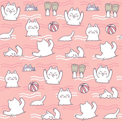 Tecknad söt sommar katt simning sömlös mönster vektor.