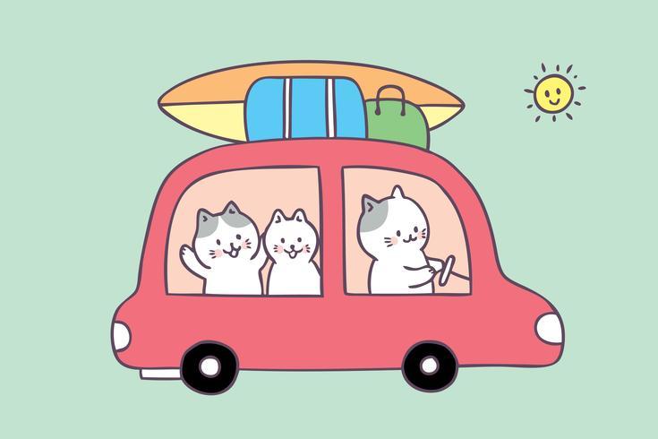 Tecknad gullig sommar familj katt resa vektor.
