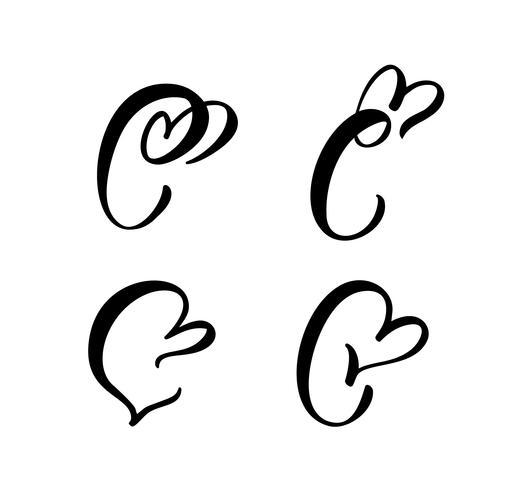 Insieme di vettore del monogramma lettera floreale d'epoca C. San Valentino calligrafia elemento fiorire. Segno di cuore disegnato a mano per la decorazione della pagina e illustrazione di progettazione. Amo la carta di nozze per invito