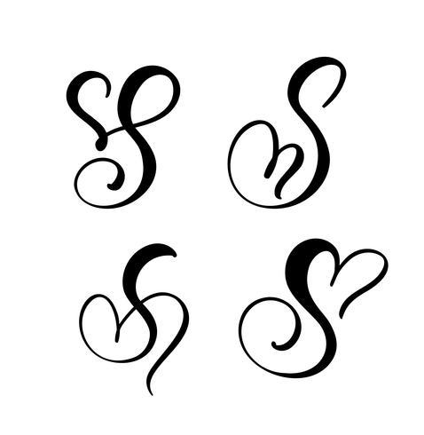 Vector Set Vintage bloemen brief monogram S. kalligrafie element Valentine bloeien. Hand getekend hart teken voor pagina decoratie en ontwerp illustratie. Hou van bruiloft kaart voor uitnodiging