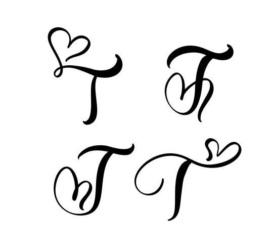 Vektor uppsättning av vintage blommigt brev monogram T. kalligrafi element valentin blomstra. Handritad hjärta skylt för sida dekoration och design illustration. Kärlek bröllopskort för inbjudan