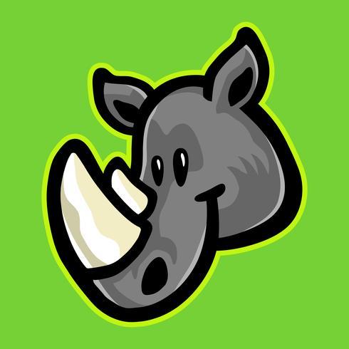 Icona di vettore del fumetto animale corna di rinoceronte