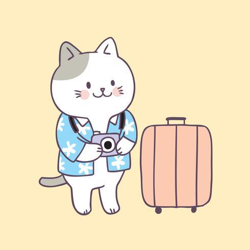 Cartoon cute summer cat travel vector.