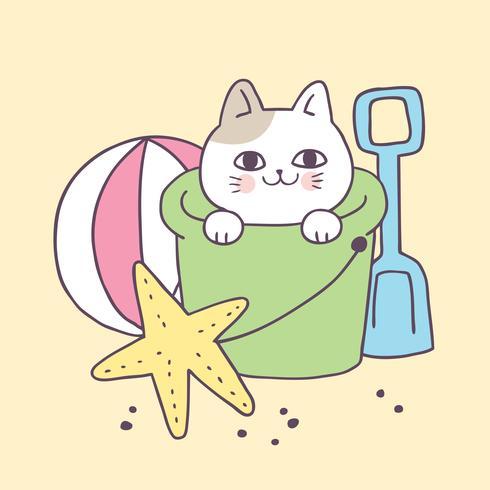 Cartoon schattige kat op strand vector. vector