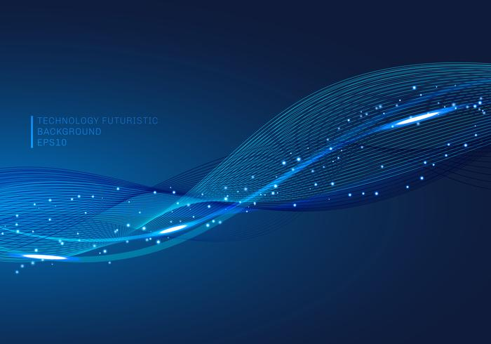 Abstrakt blå linjer våg glödande ljus element digital ström serie teknik kommunikation datavetenskap bakgrund.