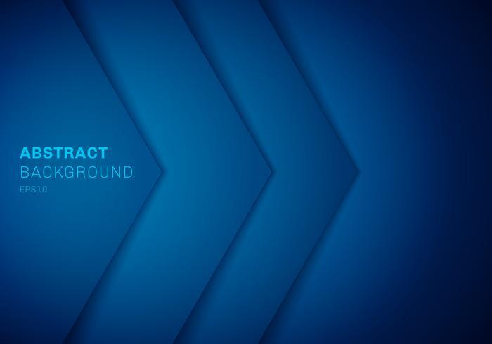 Abstrakt 3D-blå triangel med överlappande papperslagergradientfärg med kopiautrymme bakgrund. vektor