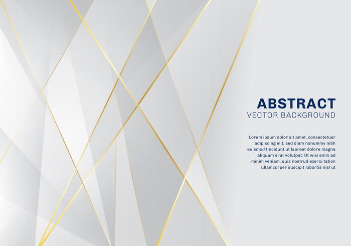 Abstracte veelhoekige patroonluxe op witte en grijze achtergrond met gouden lijnen.