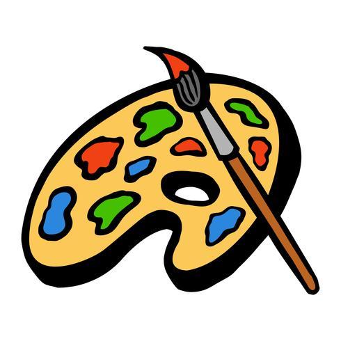 Verf kleurenpalet en penseel vector