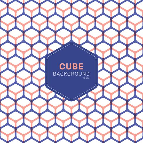 Abstract blue and pink geometric cube pattern hexagons on white background