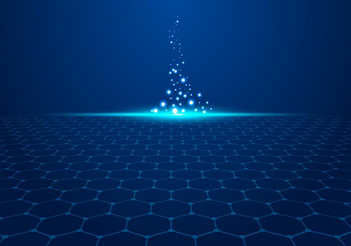 Abstract blue technology hexagon pattern on background with light explode particles.