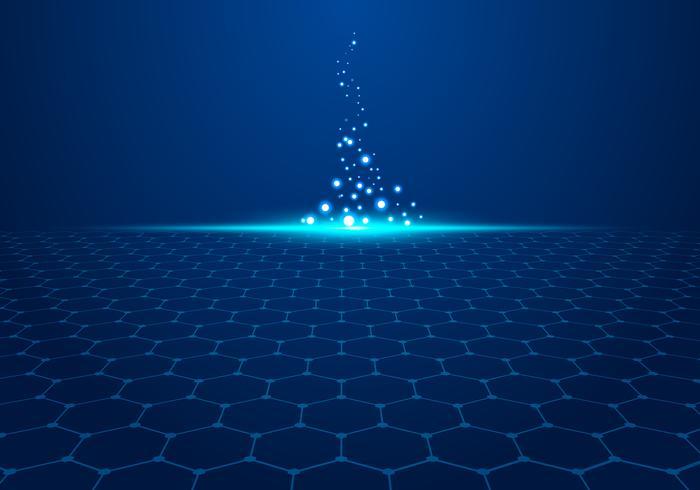 El modelo azul abstracto del hexágono de la tecnología en fondo con la luz estalla partículas. vector