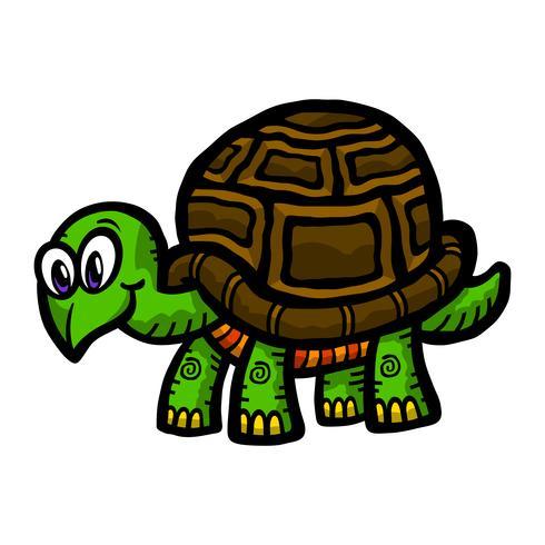 Ilustración de dibujos animados lindo tortuga vector
