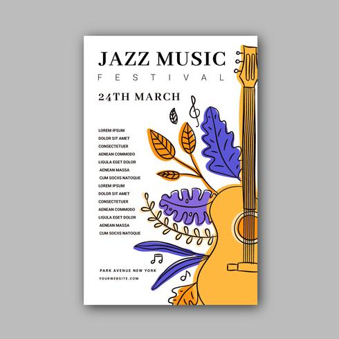 Plantilla de cartel de jazz de festival de música con garabatos