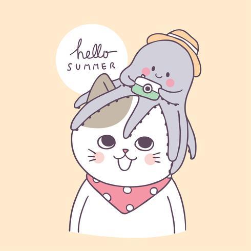 Cartone animato carino estate gatto e il calamaro vettoriale. vettore