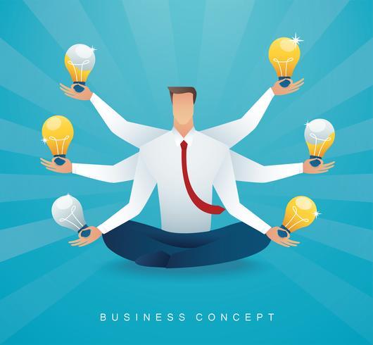 hombre de negocios sentado en postura de loto meditación con bombilla. concepto de pensamiento creativo.