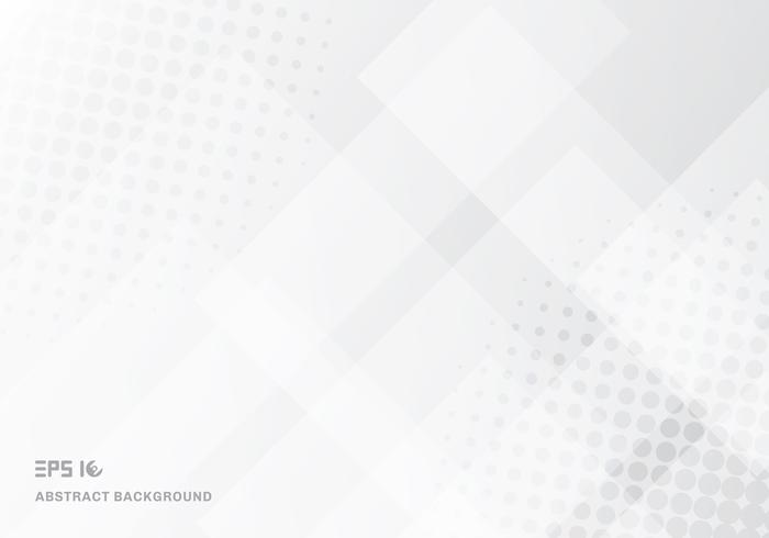 Abstracte technologievierkanten die met halftone witte achtergrond overlappen. vector