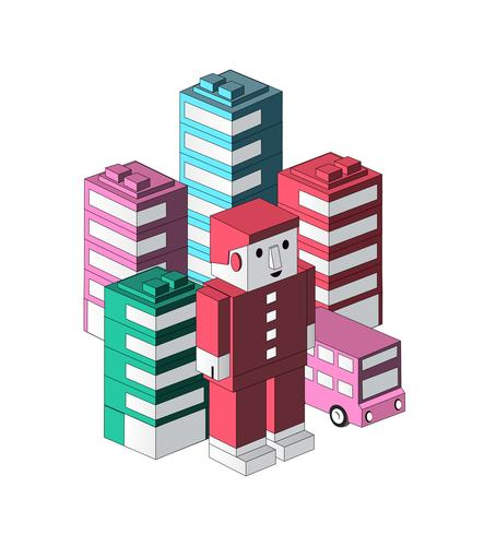 Toy cartoon robot vector
