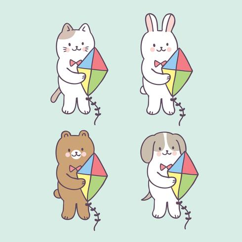 Cartone animato carino estate animali e kite vettoriale