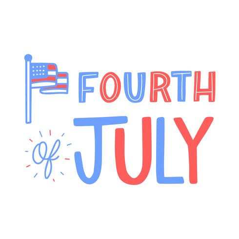 Lettering About Fourth Of July With Flag