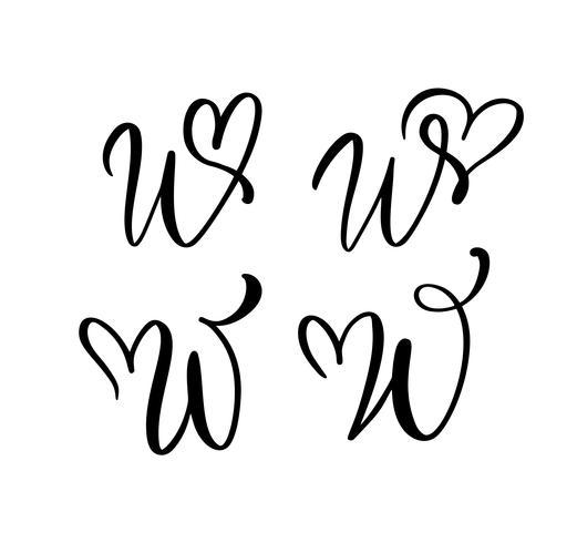 Vektor uppsättning av vintage blommigt brev monogram W. kalligrafi element valentin blomstra. Handritad hjärta skylt för sida dekoration och design illustration. Kärlek bröllopskort för inbjudan