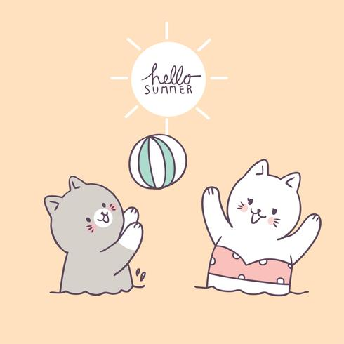 Cartoon cute cats playing ball vector.