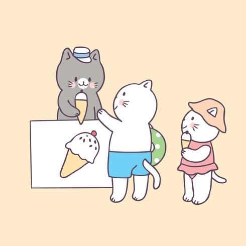 Cartoon cute summer cat and ice cream vector. vector