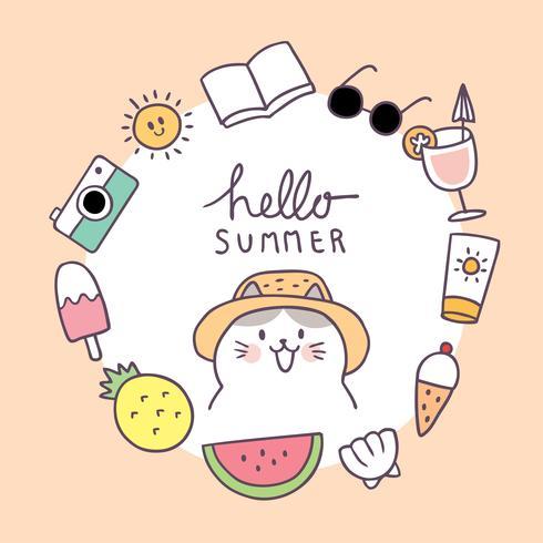 Cartoon cute summer frame cat vector.