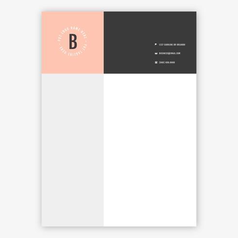 Rosa och Balck brevpapper mall vektor