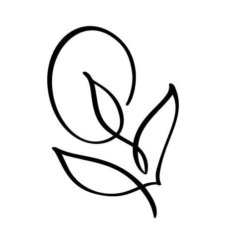 Vector gestileerd silhouet van de lentebloem met bladeren die op witte achtergrond worden geïsoleerd. Ecoteken, aardetiket. Decoratief element voor medische, ecologische merken